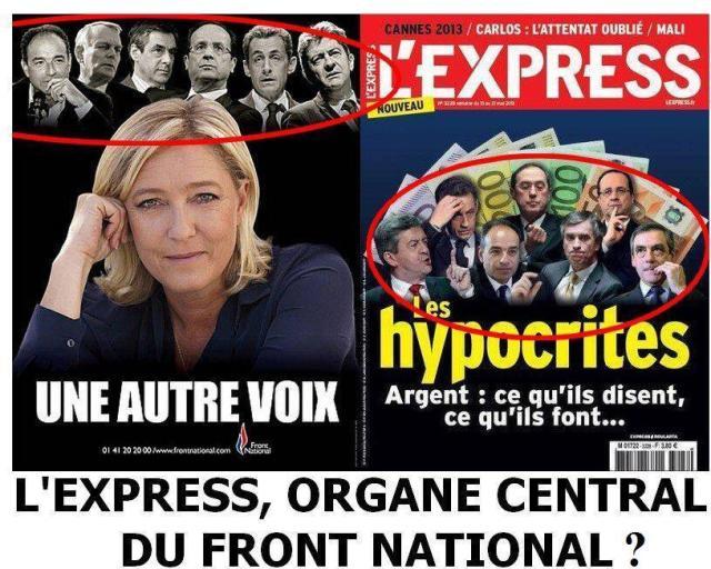 À gauche, une affiche électorale du Front national. À droite, la Une de L'Express du 15 mai 2013